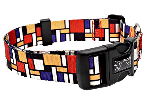 Dutch Dog Amsterdam Eco Friendly Mondrian Dog Collar, 20-25-Inch, Large