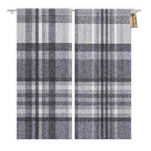 Gray Plaid Tartan Checkered Pattern Flannel Wool Winter Geometric Home Decor Rod Pocket Drapes 2 Panels Curtain 104 x 63 inches ()