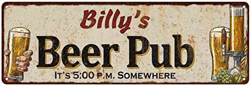 (Billy's Beer Pub Rustic Look Chic Sign Man Cave Garage Gift 6x18 Sign M61806490)
