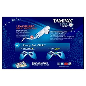 Tampax Pocket Pearl Plastic Tampons, Regular/Super/Super Plus Absorbency Triplepack, Unscented, 30 Count