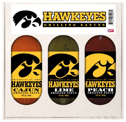 Iowa Hawkeyes NCAA Grilling Gift Set (12oz Cajun, 12oz Lime, 12oz Peach)