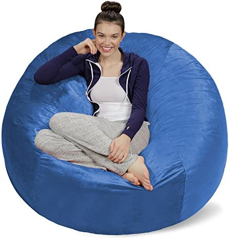 Sofa Sack - Plush Ultra Soft Bean Bags Chairs for Kids, Teens, Adults - Memory Foam Beanless Bag Chair with Microsuede Cover - Foam Filled Furniture for Dorm Room - Royal Blue 5