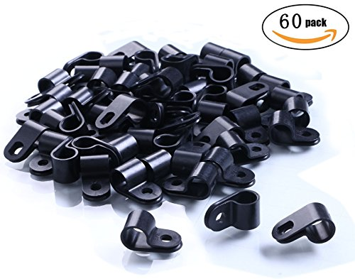 Black Plastic Screw (Shapenty Black Nylon Screw Mounting R Type Cable Clamp Fastener Plastic Wires Cord Clip Fixer Holder Organizer for 3/8 Inch /9.5mm Diameter Wire Rope Tube Management, 60Pieces/Box)