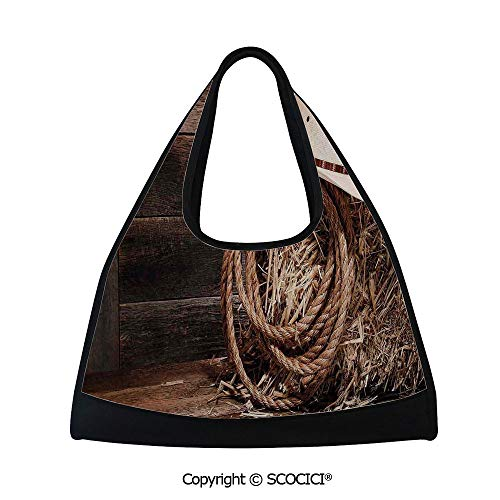 (Short distance travel bag,American West Rodeo Hat with Traditional Ranching Robe on Wooden Ground Folk Art Photo Decorative,Bag for Women and Men(18.5x6.7x20 in) Brown Beige)