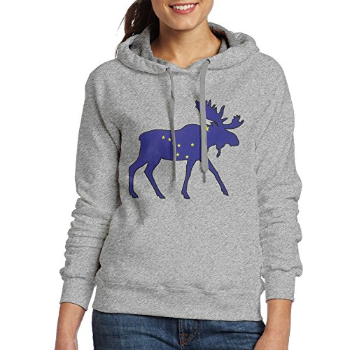 Spirit Halloween Army Costumes (Alaska State Moose Flag Hooded Sweashirt Funny Pullover Hoodie For Women Medium Ash)