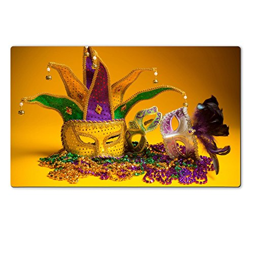 [Luxlady Natural Rubber Large TableMat IMAGE ID: 25892091 A festive colorful group of mardi gras or carnivale mask on a yellow background Venetian] (Mardi Gras Masks Template)
