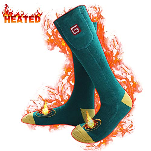Men's Heated Hiking Socks for Cold Weather Rechargeable Batteries Thermal Insulated Foot Warmers for Chronically Cold Feet,Perfect for Hunting Hiking Shredding, Riding Electric Batteries(Green-yellow)