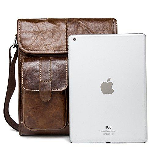Genda 2Archer Bolso de Cuero del Estudiante Universitario del Bolso de Hombro del iPad de los Hombres (22cm * 5cm * 27cm)