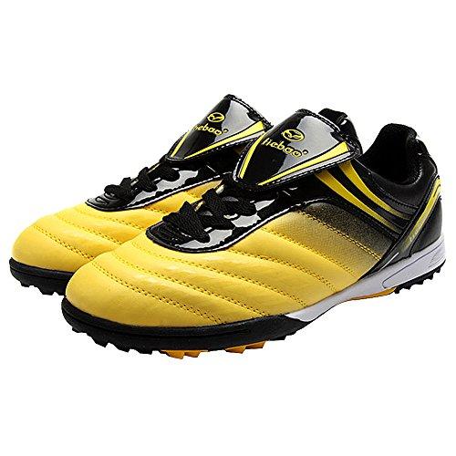 Tiebao Hombre Piso Duro Interior Velocidad Zapatos de Fútbol Charol Amarillo