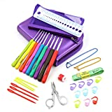 Sumnacon 31 pcs Crochet Hooks Yarn Knitting Needles Sewing Tools Set - 9 Crochet Hooks B(2mm)~ J(6mm) with Comfort Soft Rubber Grip, 22 Crochet Accessories, Great Gifts for Crochet Lover