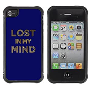 Suave TPU Caso Carcasa de Caucho Funda para Apple Iphone 4 / 4S / Lost In My Mind Typography / STRONG