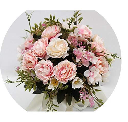 (Wedding Accessories New Bridesmaid Wedding Bride Bouquet Romantic Wedding Bouquet Flower Brides,Pink)