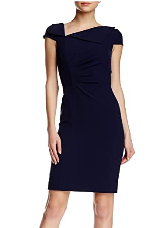 Tahari ASL Cap Sleeves Foldover Asymmetrical Neck Sheath Dress at Amazon  Women's Clothing store: