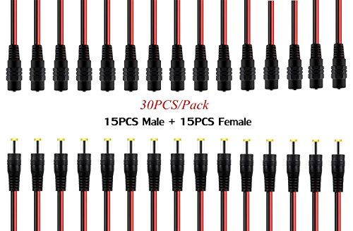 (OdiySurveil(TM) 30PCS 10 Inch(30cm) 2.1 x 5.5mm DC Power Pigtail cable for CCTV Security Camera (Pack of 15 Male + 15 Female DC Plug cable ))