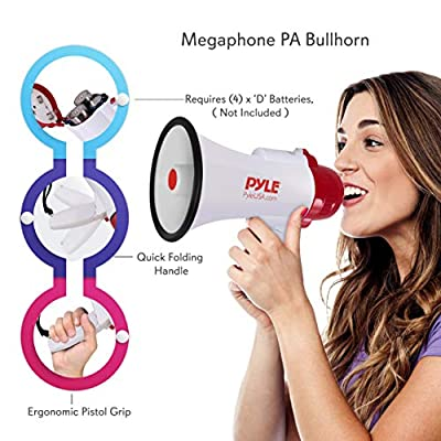 Pyle Megaphone Speaker Lightweight Bullhorn - Built-in Siren, Adjustable Volume Control and 800 Yard Range - PMP30 : Coaches Megaphones
