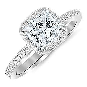 1.25 Ctw 14K White Gold GIA Certified Princess Cut Classic Halo Style Cushion Shape Diamond Engagement Ring, 1 Ct D-E VS1-VS2 Center