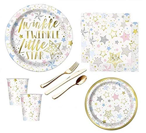 Gender Neutral Baby Shower Birthday Party Supplies Twinkle Twinkle Little Star Large And Small Plates, Napkins, Cups And Premium Quality Gold Shiny Plasticware Serves 16 Guests ()