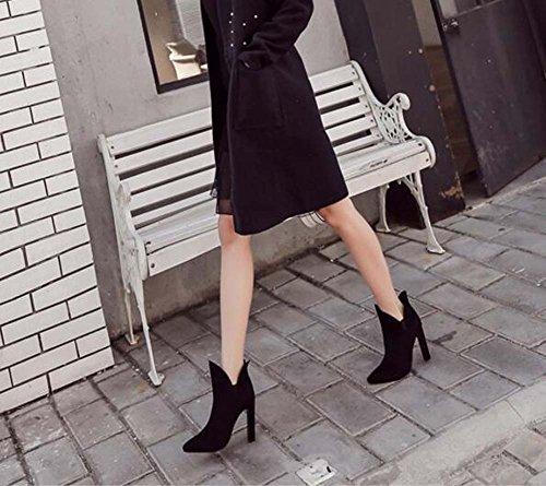 Chunkly Boots Botines Botas punta Black Talón Moda 34 40 Corte Botas Elastic Mujeres V 10cm estrecha Band de Eu Color Suede Pure Tamaño vestir Chelsea Boots Martin qCzvHEx