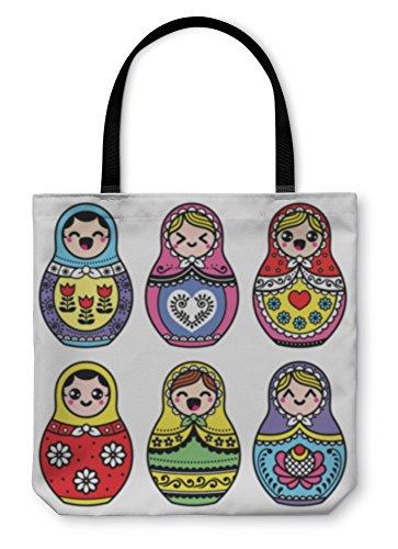 Gear New Shoulder Tote Hand Bag, Kawaii Cute Russian Nesting Doll Matryoshka, 16x16, ()