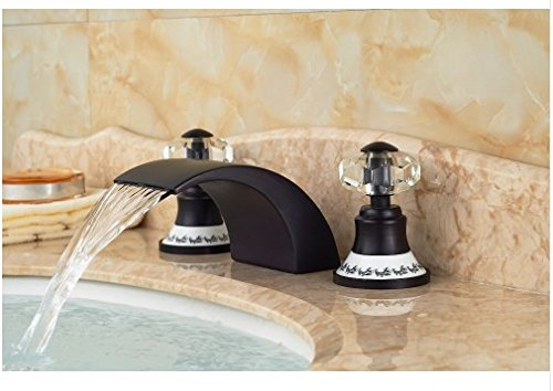 Gowe Special 3PCS Oil Rubbed Bronze Crystal Handle Deck Mounted Bathroom Basin Sink Faucet Mixer tap 3