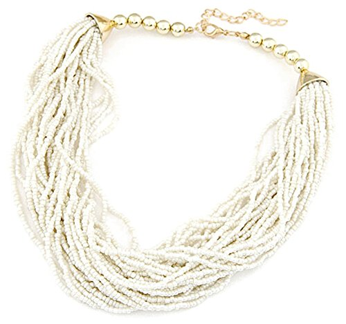JSDY Womens Girls Bohemia Beads Weave Pendants Chunky Party Necklaces Jewelry White