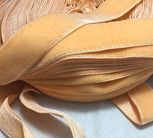 Vintage Rayon Satin Back Velvet Ribbon - Light Orange (3/4
