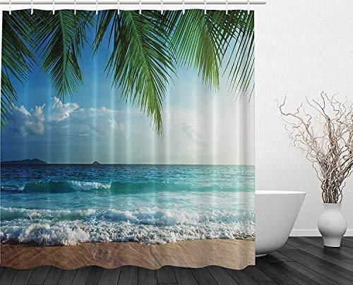 ZBLX Palms Ocean Tropical Island Beach Decor Maldives High Resolution Photography Home Postcard Decor Bathroom Textile Leisure Traveler Explorer Print Fabric Shower Curtain 60