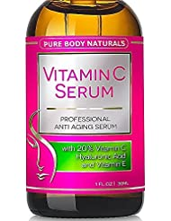 Pure Body Naturals Vitamin C Serum with Hyaluronic Acid, 1 Fl. Ounce (30 ml)