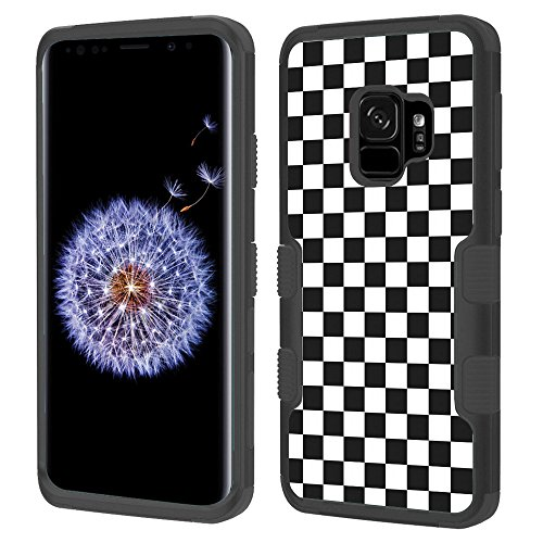 Checkers Protector Case (3-Layer Case for Samsung Galaxy S9, One Tough Shield Shockproof Hybrid Protector Phone Case (Black/Black) - Checker B/W)