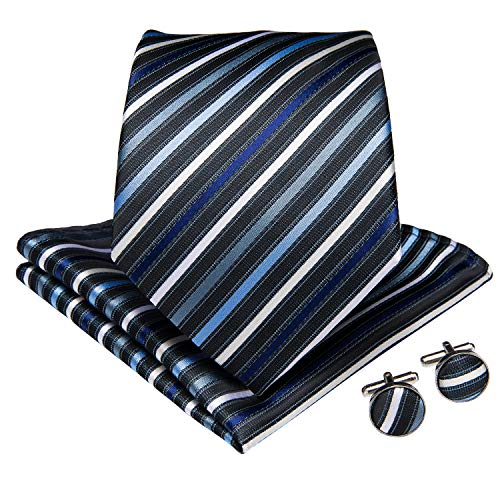 Stripes Necktie Handkerchief - DiBanGu Men's Silk Tie and Handkerchief Woven Stripe Necktie Cufflink Set Business (Navy)
