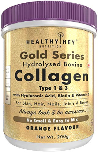 HealthyHey Nutrition Collagen Gold Series with Hyaluronic Acid, Biotin & Vitamin C – No Smell – Easy to Mix – No Added…