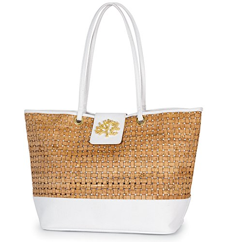 Mud Pie 8613305WH Basket Weave Sea Icon Cork Tote - Icon Online Shopping