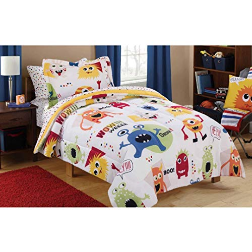 Mainstays Kids Monster Mix Bed in a Bag TWIN Comforter Bedding Set, for Boys and Girls