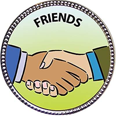 Keepsake Awards Friends Award, 1 inch Dia Silver Pin Serving Others Collection: Toys & Games