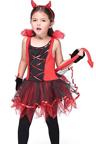 Honeystore Girl's Devil Costume Halloween Party Kids Dress up & Role Play -