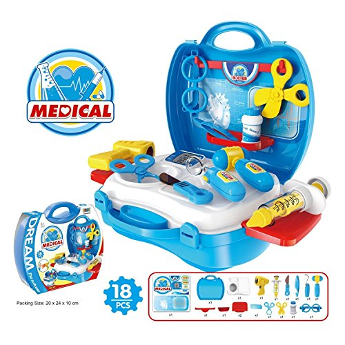 Medical Box Doctor Set Nurse Medical Kit Playset for Kids Children- Pretend Play Tools Toy Set 18 Piece Blue