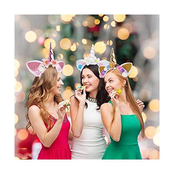5PC Glitter Unicorn Horn Headband, Flower Ears Unicorn Headbands for Girls, Birthday Party Supplies, Favors and… 10