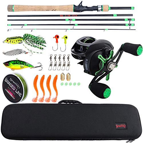 Sougayilang Baitcasting Travel Fishing Rod Reel Combos with Light Weight High Carbon Baitcasting Rod Portuguese Cork handle-5PC Protable Travel Fishing Pole