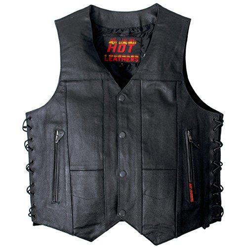 Hot Leathers Men's Cowhide Leather 10 Pocket Vest (Black, X-Large)