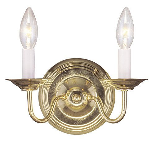 (Livex Lighting 5018-02 Williamsburg 2-Light Wall Sconce, Polished Brass )
