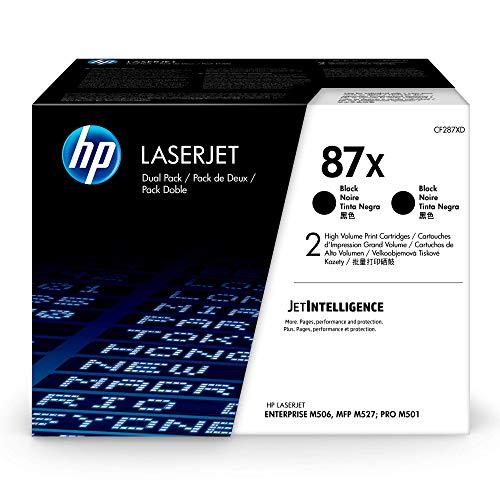 HP 87X (CF287X) Black Toner Cartridge High Yield, 2 Toner Cartridges (CF287XD) for HP Color Laserjet M506 M501 M527