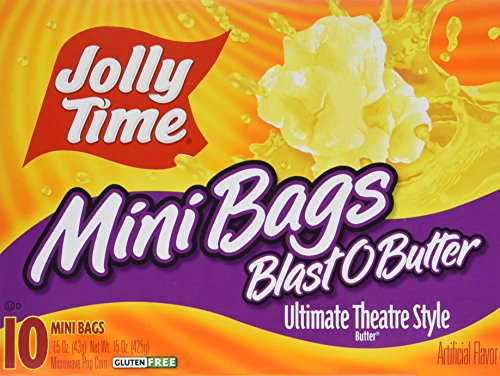 Jolly Time Blast O Butter Movie Theater Microwave Popcorn Single Portion Mini Bags, 10-Count Boxes (Pack of (Mini Bags Microwave Popcorn)