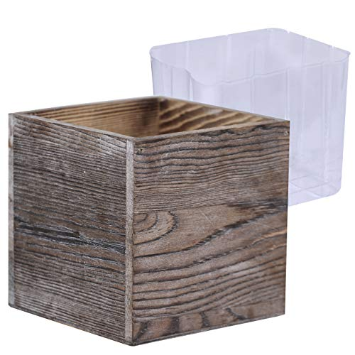 1 Pcs Wood Planter Box Square Whitewashed Wooden Vase Succulents Flower Planter Window Centerpiece Box with Inner Plastic Box - 5.1
