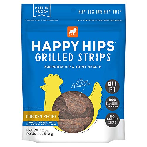 Happy Hips Chicken Grilled Strips, Grain Free Dog Treats with Glucosamine & Chondroitin, Made in USA, 12 - Treats Chicken Hips Happy Dog