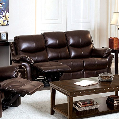 Furniture of America Norfolk Bonded Leather Sofa with Nailhead Trim