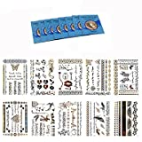 WST 10Pcs Temporary Tattoo Body Art Chain Gold Tattoo Metallic Tattoo Jewelry Temporary Tattoo Tickers+8Pcs Cleansing Wipes