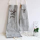 Aprons Mother Daughter Gifts with Pockets Love You Sayings Cotton Blend Kitchen Grey Mommy and Me Matching for Adult and Kid Cooking Baking Painting Gardening