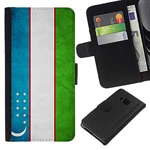 """Be-Star la tarjeta de Cr¨¦dito Slots PU Funda de cuero Monedero caso cubierta de piel Para HTC One M7 ( Bandera nacional de la Serie-Uzbekist¨¢n"""" )"""