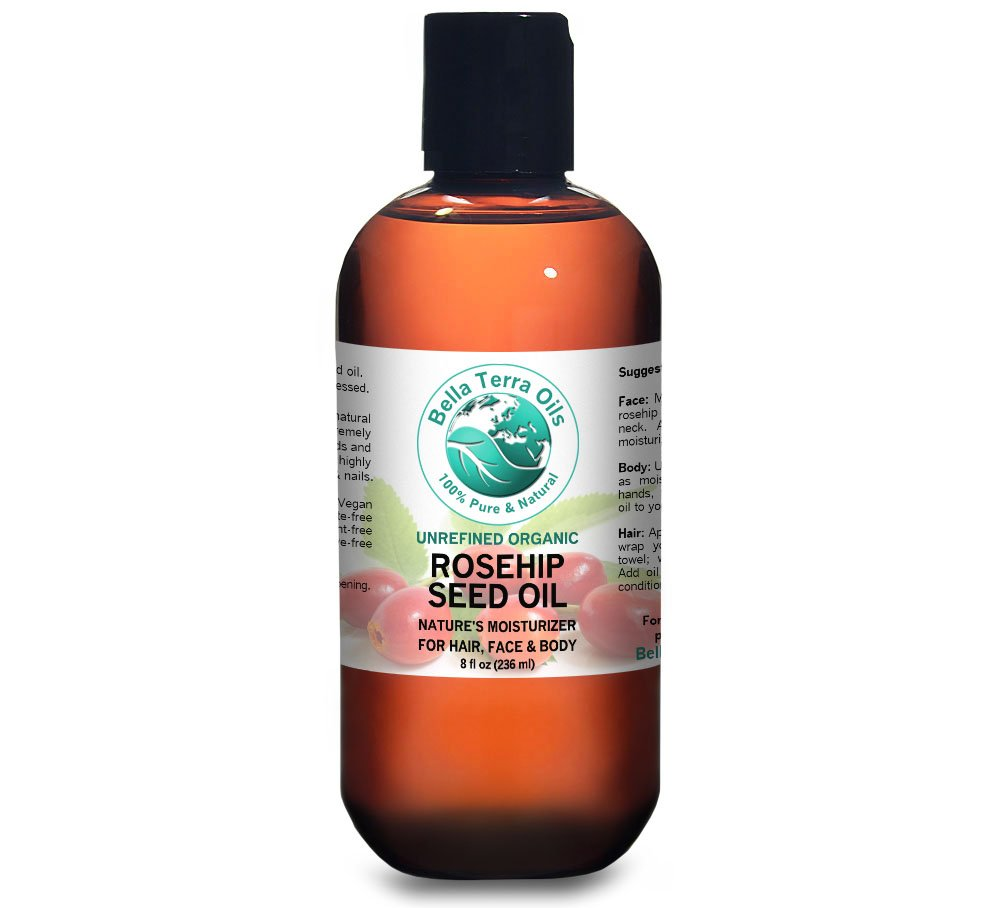 Rosehip Seed Oil 8 oz 100% Pure Cold-pressed Unrefined Organic - Bella Terra Oils