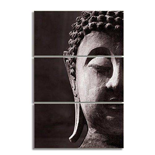 KALAWA 3 Panels Canvas Prints Zen Art Wall Decor Modern Buddha Head Portrait Painting Printed On Canvas Religion Wall Art For Living Room Home Decoration Ready to Hang (28''W x 20''Hx 3 Panels) - 20' Buddha Statue